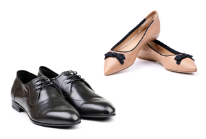 A pair of men's shoes and a pair of women's shoes