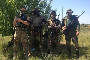 "Murdered soldier of the battalion ""Donbass"" (first left)"