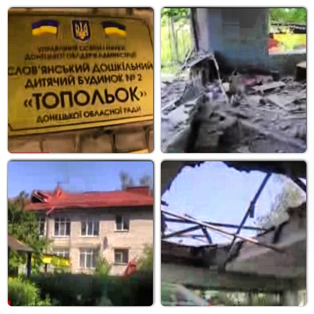 "Orphanage ""Topolek"" bombed and destroyed by Ukrainian Army fire."