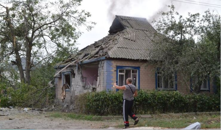 Destruction in Harzyzsk, Ukraine
