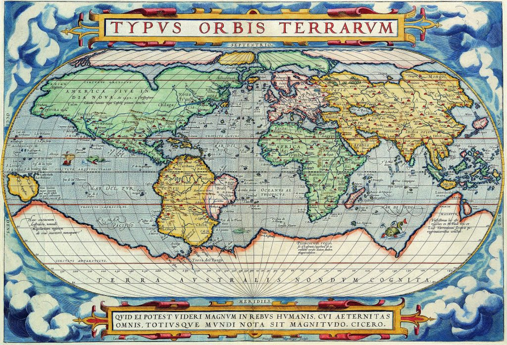 Antique Maps of the World Map of the World Abraham Ortelius c 1570