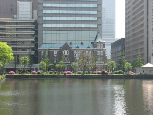 The Bankers Club in Tokyo as seen from the side of the Imperial Palace.