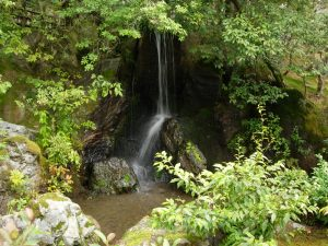 A small waterfall in Kyoto in Ginkakuji temple park.
