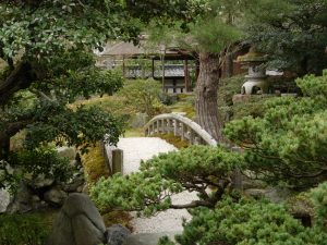 A small bridge in the middle of the Imperial Palace garden in Kyoto.